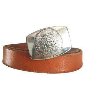 Vintage sterling silver Aztec /Mayan buckle belt